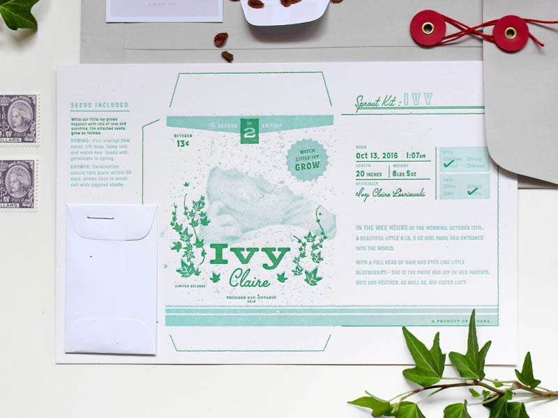 Baby Ivy Sprout Kit kit sprout ivy garden seeds vintage package packaging letterpress printed birth announcement