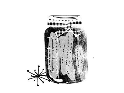Pickles package dill pickle dill mason jar jar plaid gingham illustration jarring canning pickles
