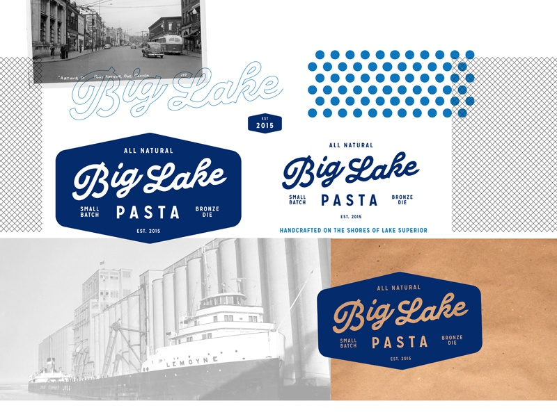 Big Lake Pasta Logo Design Board Small wip pasta lake big