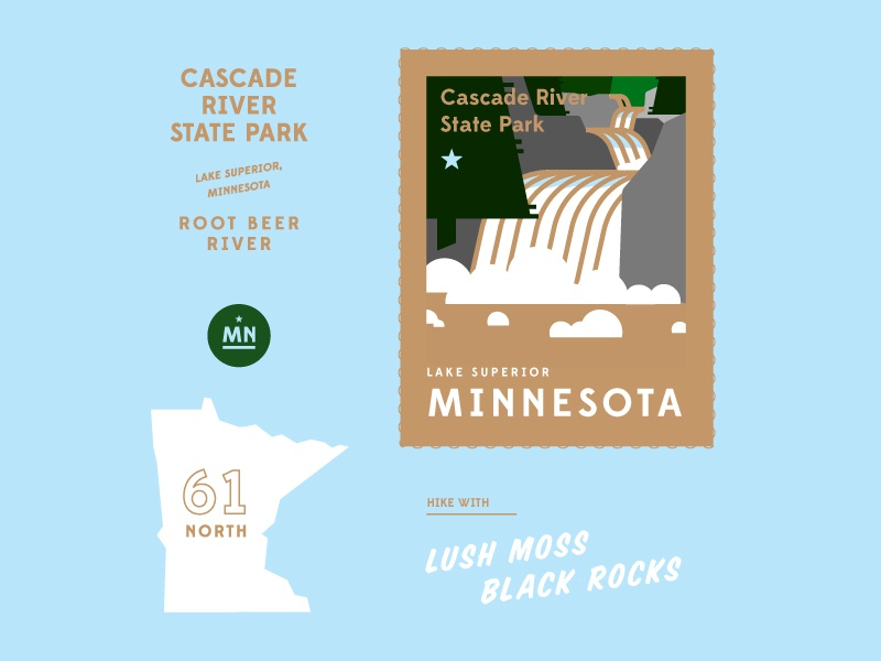 Cascade River State Park state park duluth root beer river waterfall stamp minnesota