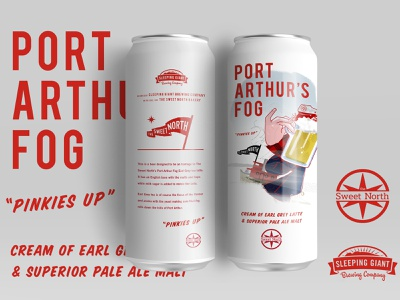 Port Arthur's Fog Beer tugboat canada illustration earl grey tea flag fog craft beer packaging can tall can beer