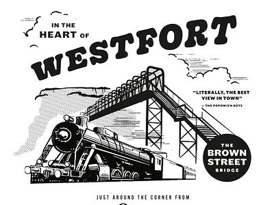 Brown street bridge retro vintage vector bridge train trains illustration tshirt shirt design shirt