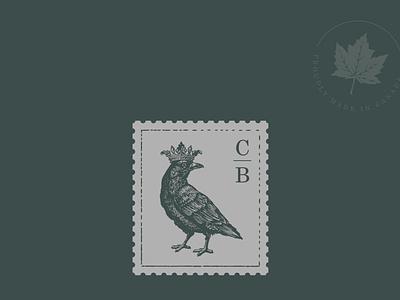 Crown and Birch stamp brand branding logo bird logo bird crown canada canadian