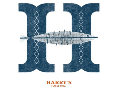 H for Harry h type retro vintage mid century fish hand lettering dropcap