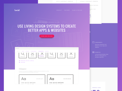 Lucid guide style guide system style features pricing landing page web