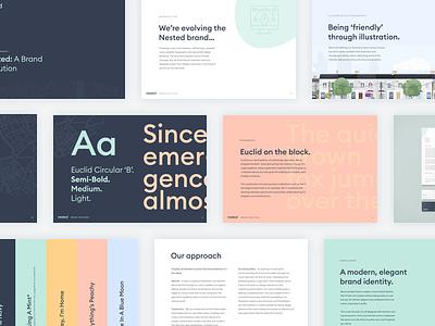 Nested Brand Refresh colour typography brand guide documentation branding brand