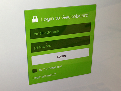Login to Geckoboard ui web login box login form fields