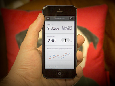 Geckoboard App ios iphone app ui dashboard graph chart pug hand app ui flat flat design
