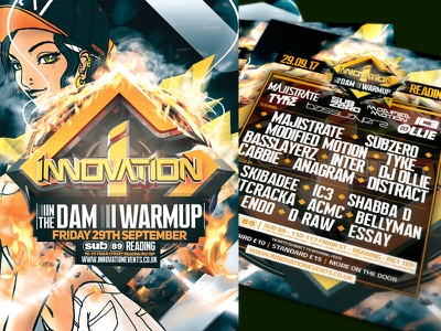 INNOVATION: IN THE DAM WARM-UP dnb clubflyers artwork