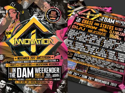 INNOVATION IN THE DAM 2017 rave in the dam flyer design event artwork drum n bass dnb digitalart