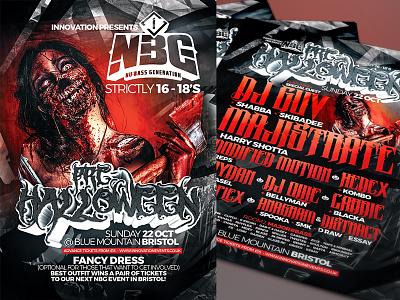 INNOVATION / NBG PRE-HALLOWEEN rave flyer design event artwork horror halloween dnb digitalart