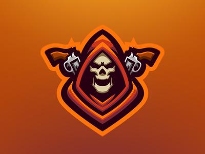 Xenohyper Mascot Logo flat illustration fortnite dota2 apex esports icon branding vector reaper gunn skull twitch streamer gaming game esport mascot logo