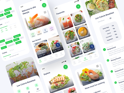 Fitness Recipe App full design uiux minimal userinterface figma weight loss nutrition healthyfood diet app fitness app fitness