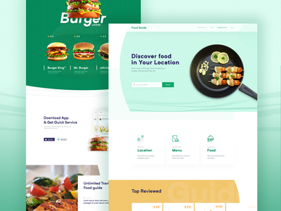 Listing Restaurant landing page typography ux ui landing page branding web userinterface minimal flat design website user experience menu burger king burger hungry food listing website listing resturant