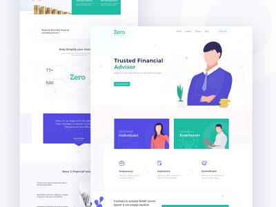 Financial Advisory Landing Page financial landing page finical web design agency vector illustration minimal landing page userinterface flat user experience website fincial finical finical help advisory consulting advisor