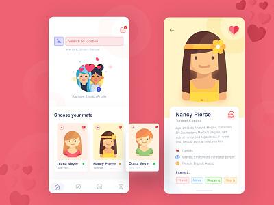 Dating App Concept vector ui typography user experience minimal flat illustration userinterface mobile app design app  design andriod app ios ios app design love app chat app matching app dating app