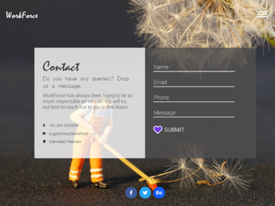WorkForce Contact Us Web Page UI/UX Design