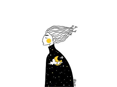 Spirit of the night charcter dreams lineart illustration digitalart design artwork art