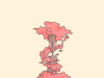 Tangled pink clouds faces dreams charcter lineart graphicdesign illustration digitalart design artwork art