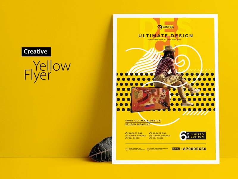 Minimal Yellow Flyer free design free flyer design inspiration design orange poster flyer yellow creative minimal