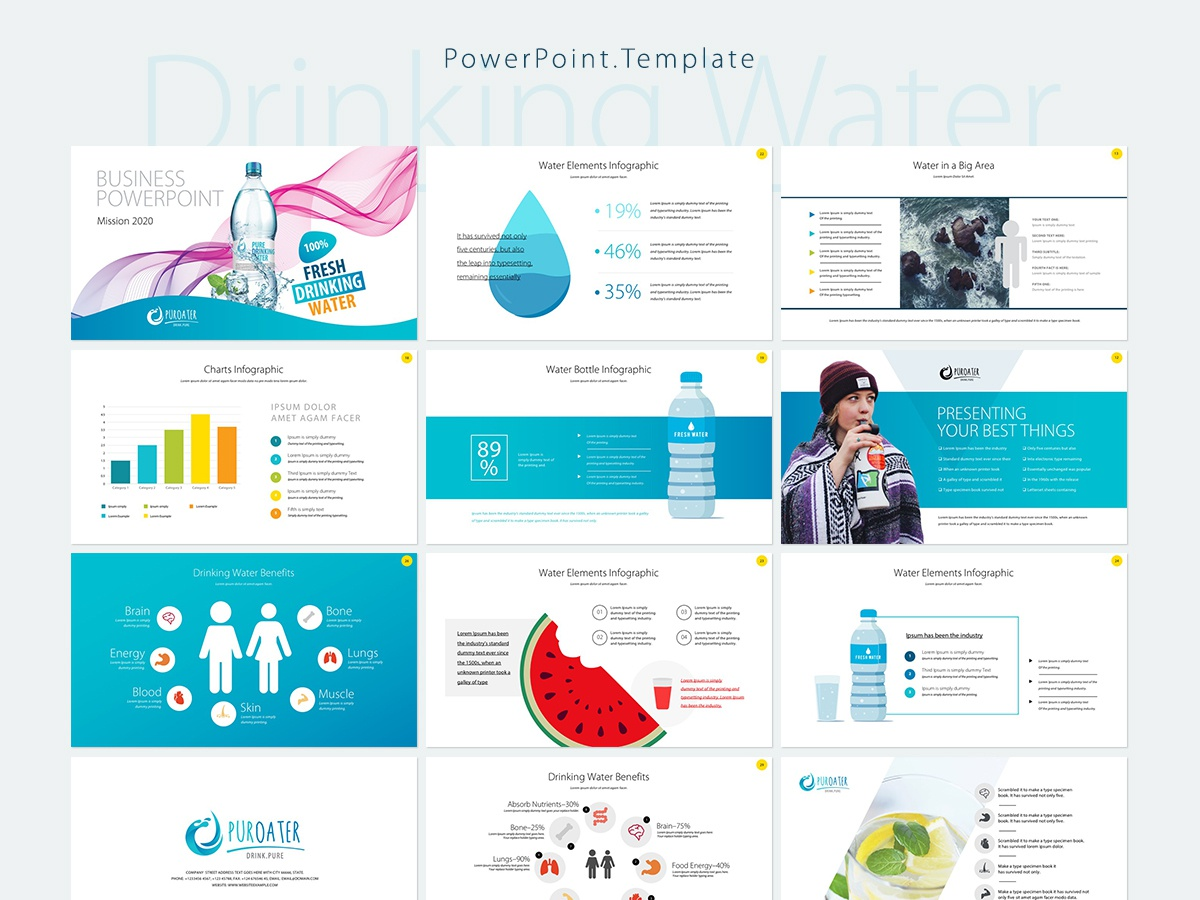 Drinking Water Business Powerpoint Template By Freepiker On