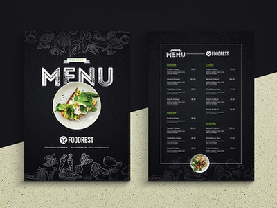 Creative Black Food Menu Flyer creative design black design dark design price tag price list price menu restaurant restaurant flyer menu flyer menu food menu black food menu black flyer