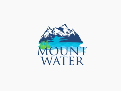Water Logo with Mountain Blue Ocean & Nature logo inspiration mountain water blue logo creative logo ocean logo river nature logo fresh mountain logo water logo