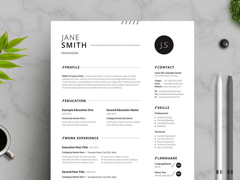 Black White Minimal Resume minimalist design job cv cv resume minimal resume black black-white