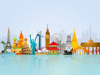 World Skyline Travel Illustration rome berlin paris bangkok new york london tokyo world wonders travel world skyline world travel world
