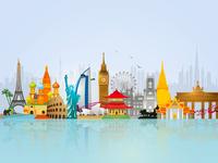 World Skyline Travel Illustration