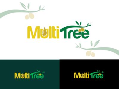 """MultiTree"" logo new logo brand identity flat oil logo product logo agriculture logo olive oil typography creative lettering branding logo"