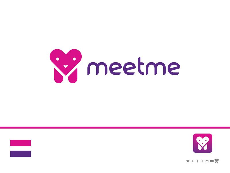 """""""meetme"""" logo design m logo dating app meetme creative icon flat minimal branding logo"""