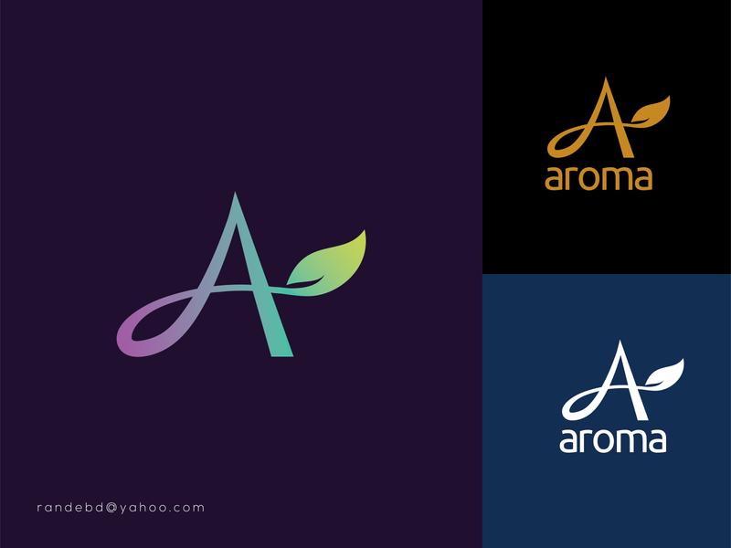 Aroma Logo aroma alogo a letter logo cosmetic logo beauty logo typography lettering creative flat minimal branding logo