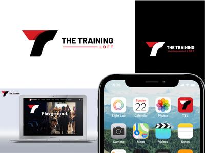 """THE TRAINING LOFT"" logo gym logo t letter logo minimal typography new logo lettering creative flat branding logo"