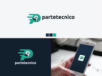 """partetecnico"" Logo p letter logo web logo brand identity logo 2020 new logo lettering creative flat minimal branding logo"