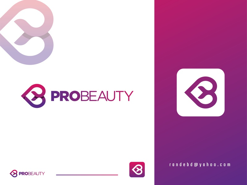 """PROBEAUTY"" logo beauty salon love icon pblogo pblogo blogo beauty logo 2020 beauty product beauty logo new logo lettering icon creative flat minimal logo branding"