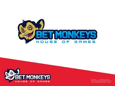 """BET MONKEYS"" logo mascot logo bet logo betting website logo icon minimal creative logo"
