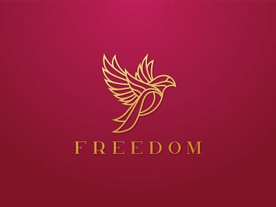 """freedom"" logo clean logo bold logo luxury logo elegant logo jewelry logo bird logo bird creative flat minimal logo"