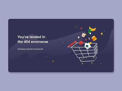 404 Error lottie animated animation illustrator 404page shopping cart space illustration error page error 404 404