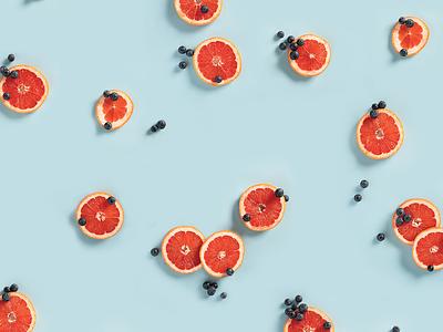 Grapefruits and Blueberries orange food photography color blueberries grapefruit photography