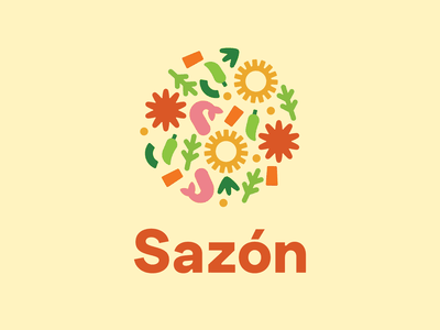 Sazón Latin ERG logo branding pattern illustrator latin heritage logo latinos latinx stew caldo spice sazón