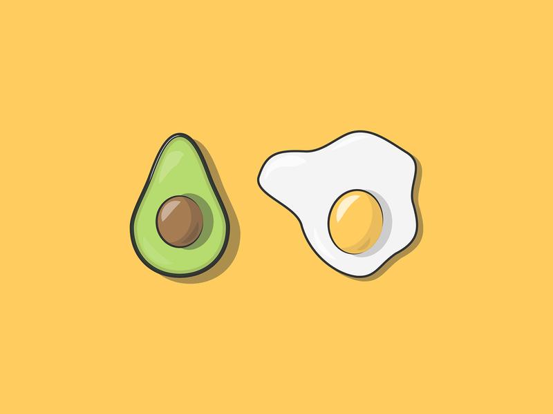 Avocado & Egg vectorart breakfast egg avocado vector art vector illustration side project instagram illustrator illustration graphic design flat design digital illustration design adobe illustrator