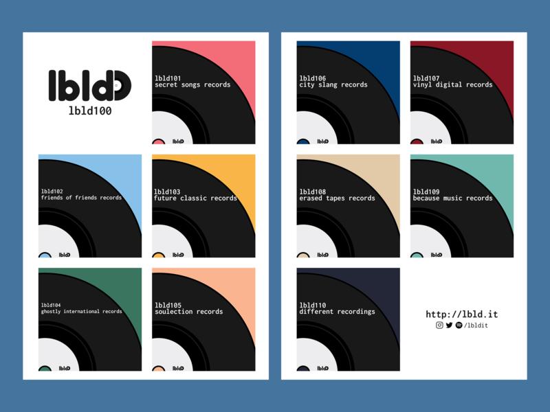 lbld100 logo music playlists side project record labels newsletter illustration design branding