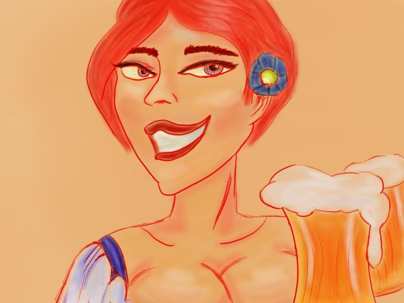 Oktober germany oktoberfest girl beer design illustration