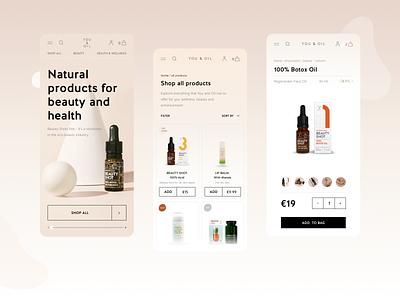 E-commerce website design for youandoil.eu checkout cart product page product listing health ecommerce beauty web ux ui landing mobile