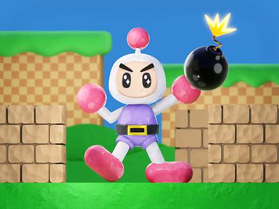 Bomberman video game art retro game konami bomberman blender 3d blender 3d model 3d