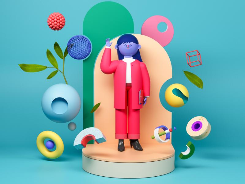 Hello! 캐릭터 디자인 캐릭터 디자이너 website hello red suit suit poster illustration graphic design cinema4d blue character designer character boy character c4d branding book design animation 2019