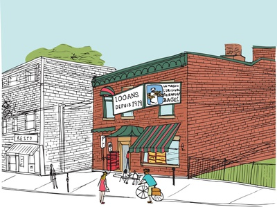 fairmount bagel cycling buildings drawing food sketch handdrawn illustration architecture bagels