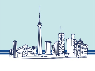 The 6ix sketch blue cn tower waterfront downtown architecture handdrawn drawing cityscape skyline canda toronto
