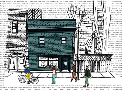 The Word urban cyclist bookshop books mcgill canda literature readers independent bookstore montreal illustration sketch architecture drawing